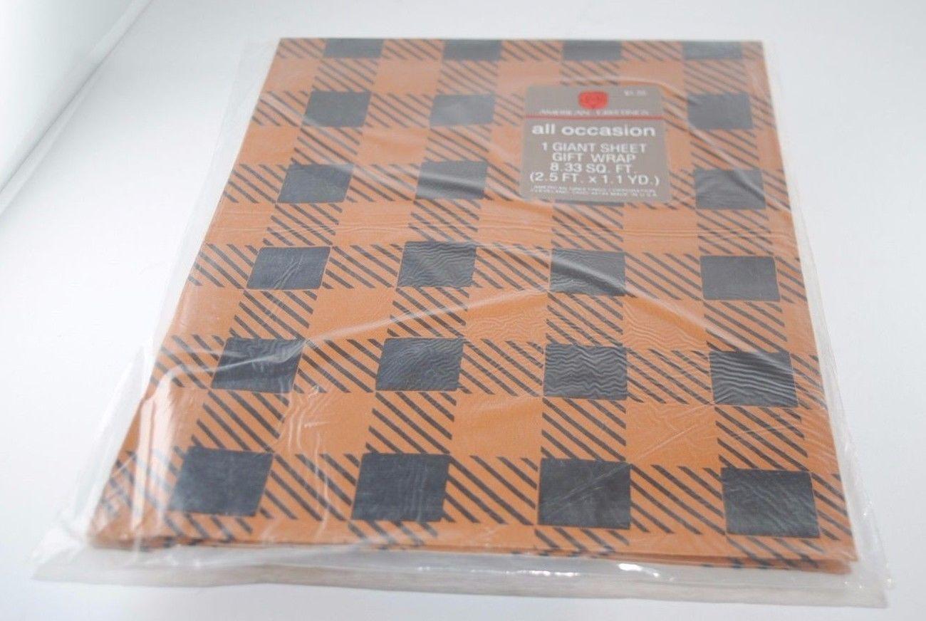 Vintage Giant Sheet Black Orange Gift Wrap And Similar Items