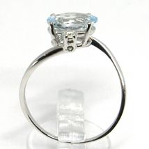 18K WHITE GOLD BAND RING AQUAMARINE 2.00 OVAL CUT & DIAMONDS, MADE IN ITALY image 4