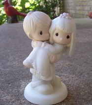 PRECIOUS MOMENTS Figurine ©1982 'Bless You Two' WEDDING CAKE TOPPE Chris... - $16.99