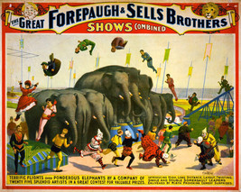 Art print POSTER great Forepaugh &Sells Brothers circus - $2.96+