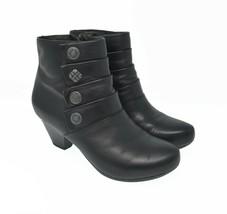DANSKO Women's Sz 5.5 - 6 EU 36 Black Leather Zip Up Button Fashion Ankl... - $54.99