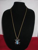 NEW Betsey Johnson Turquoise Rhinestone Tarantula pendant on Long Ch... - $24.50
