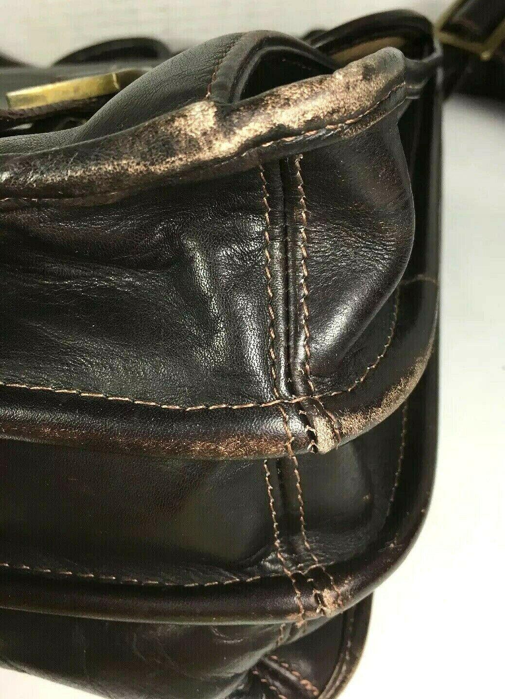 Santa Fe Dilana Vintage Dark Brown Leather Briefcase Laptop Bag – Distressed image 6