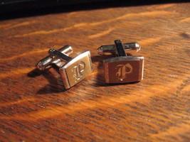 "Monogram ""P"" Cufflinks - Vintage 1960's Hickok Gold Silver Initial Cuff ... - $19.79"