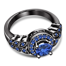 Disney Princess Womens Engagement Ring Blue Sapphire Black Gold Over 925 Silver - $81.99