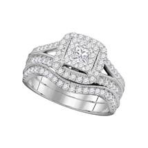 14k White Gold Princess Diamond Bridal Wedding Engagement Ring Set 1.00 Ctw - $1,399.00