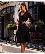 Elegant  Wrap Style Tie Waist Trench Coat Party Slim  Dress - $23.99