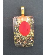 Hand made Red Bead and gold pendant in resin with chain - $3.96