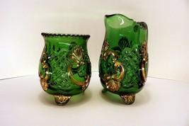 EAPG Riverside Glass CROESUS Creamer Spooner Emerald Green and Gold Scrolls - $18.00