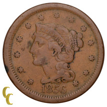1856 Braided Hair Large Cent 1C Penny Upright 5 (Fine, F Condition) - $29.69