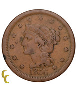 1856 Braided Hair Large Cent 1C Penny Upright 5 (Fine, F Condition) - €26,35 EUR