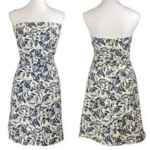 J CREW Women's Sz 8 Strapless Midi Dress Blue Ivory Floral A-Line - $37.37