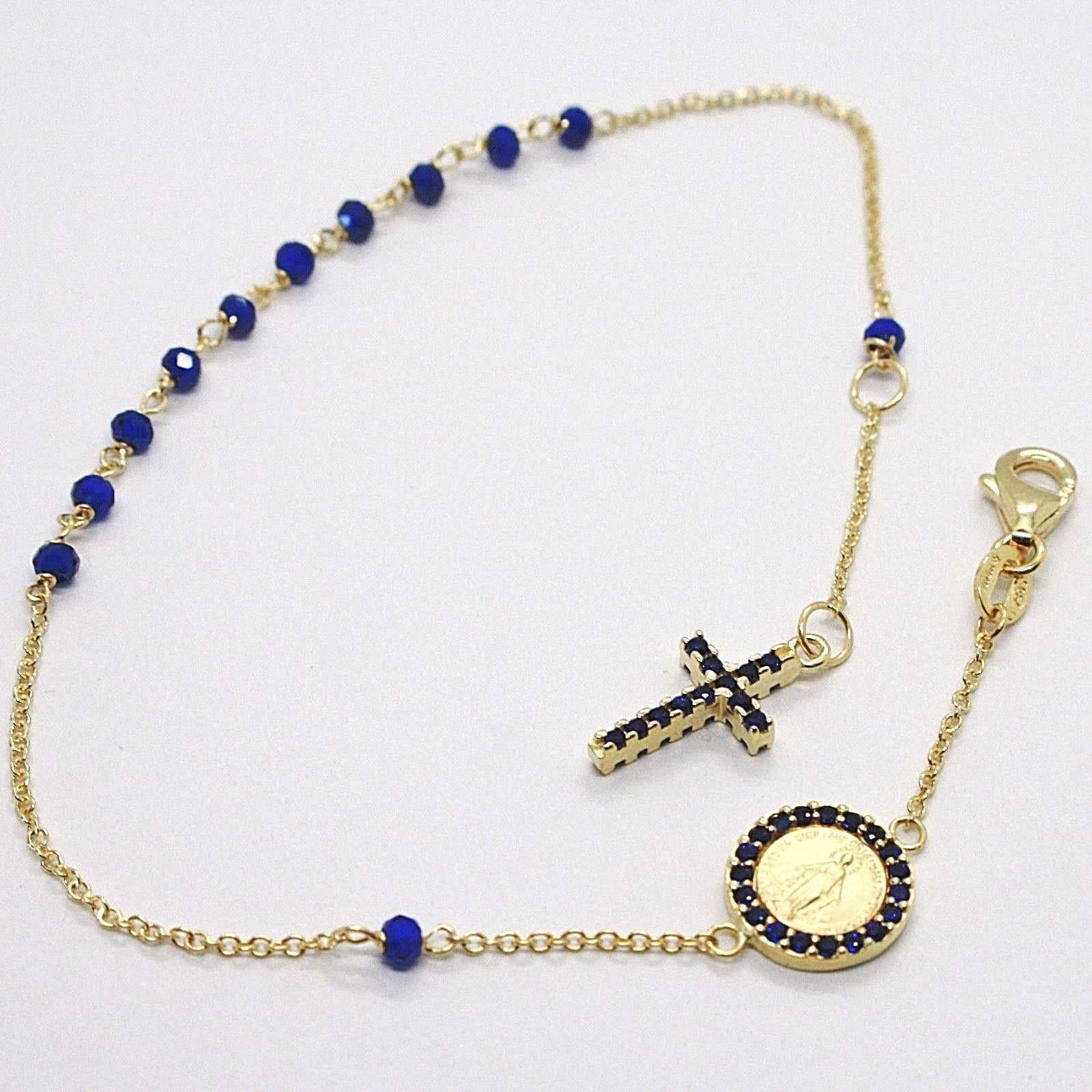 18K YELLOW GOLD ROSARY BRACELET, FACETED SAPPHIRE ROOT, CROSS, MIRACULOUS MEDAL