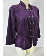 Roz & Ali womens Medium 3/4 sleeve purple VELVET peplum OPEN front jacke... - $17.99