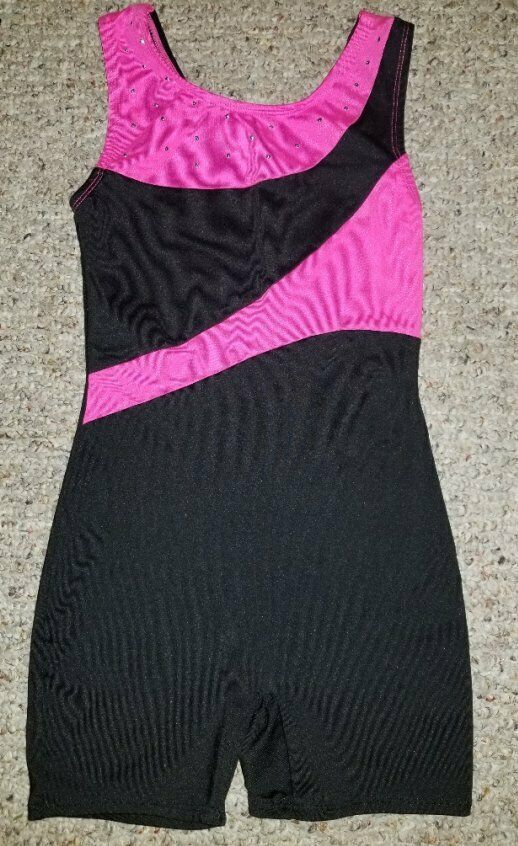 MOTIONWEAR Black and Pink Sleeveless Unitard Beaded Accents Girls Size 10-12 - $7.74
