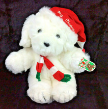 Commonwealth Puppy Dog White Merry Christmas Plush Stuffed Animal 1988 N... - $28.93