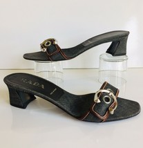Amazing Prada Dark Wash Denim Sandals Size IT 38.5 US 8.5 M  Mid Cuban Heel - $69.00