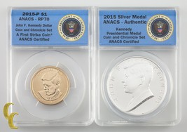 2015 Kennedy Coin & Chronicle Set: Dollar & Silver Medal ANACS Graded RP-70 - $395.99