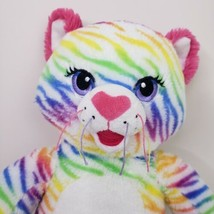 Build A Bear Cat Plush White Rainbow Striped  Stuffed Animal Pink Ears B... - $21.38