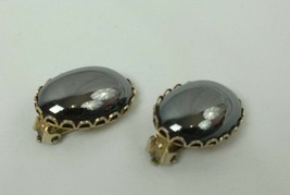 "VINTAGE BLACK SILVER TONE SMOOTH CLIP-ON BUTTON EARRINGS 1"" (D1) - $9.09"