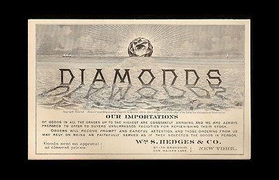 1880 Diamonds Advertising Trade Card Folder Wm. S. Hedges NY Diamond Importers image 1