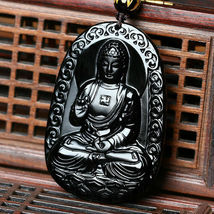 Black Natural A Obsidian Carved Buddha Pendant Rope with Chain - Random design image 6