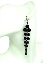 Women New Black Stone Deco Layer Drop Pierced Earrings - $24.64 CAD