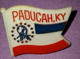Vintage Paducah, KY Flag Shape Plastic Lapel Pin Red White And Blue Collectable - $5.00