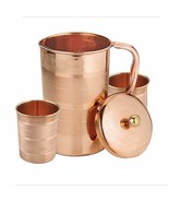 Indian Handmade PURE Copper Pitcher Jug & 2 Glass Cup For MANY Benefits. - $30.15