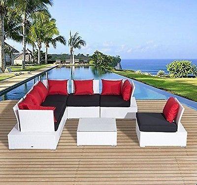 Luxury Wicker Garden Rattan Set Patio Sofa 2 Chairs Coffee Table Cushions White