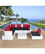 Luxury Wicker Garden Rattan Set Patio Sofa 2 Chairs Coffee Table Cushion... - $994.81