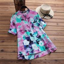 2018 Plus Size ZANZEA Summer Beach Party Shirts Retro Casual O Neck Short Sleeve - $35.04+