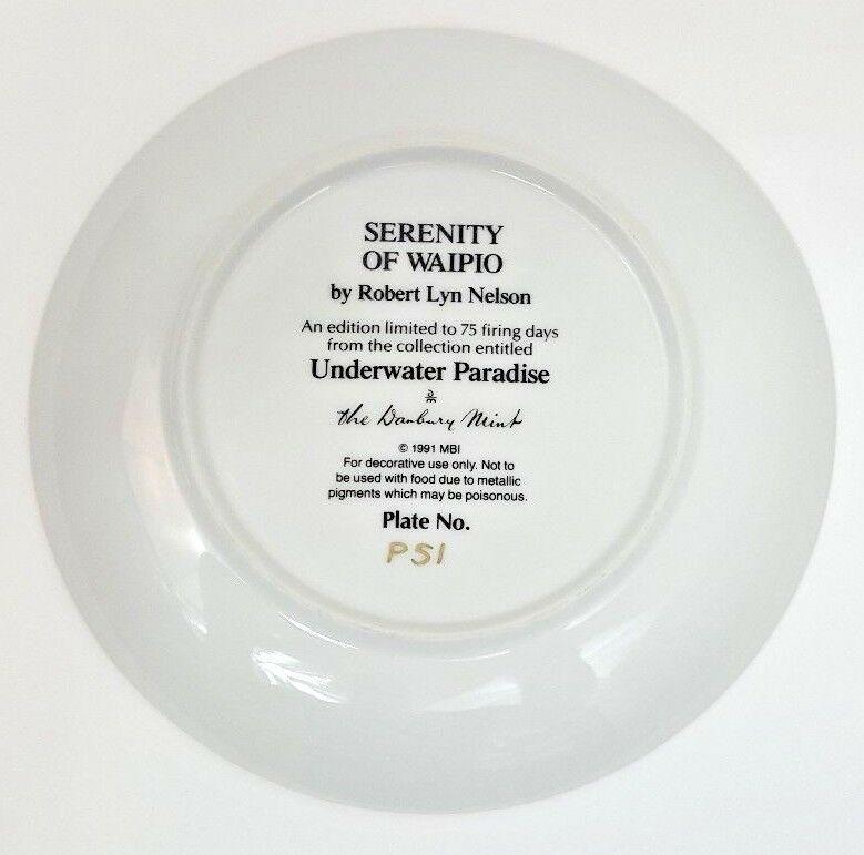 Danbury Mint Underwater Paradise Serenity Of Waipio Plate 1991 Robert Lyn Nelson image 4