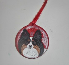 Papillon Tri Color Dog Christmas Ornament Decoration Hand Painted Ceramic - $30.00