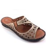 Bonavi 014-2412 Beige/Tan Leather Lightweight Flat Slip On Sandals - $80.10