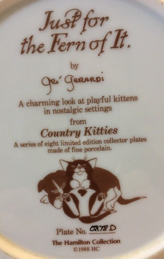 """COUNTRY KITTIES """"JUST FOR THE FERN OF IT"""" HAMILTON COLLECTION"""