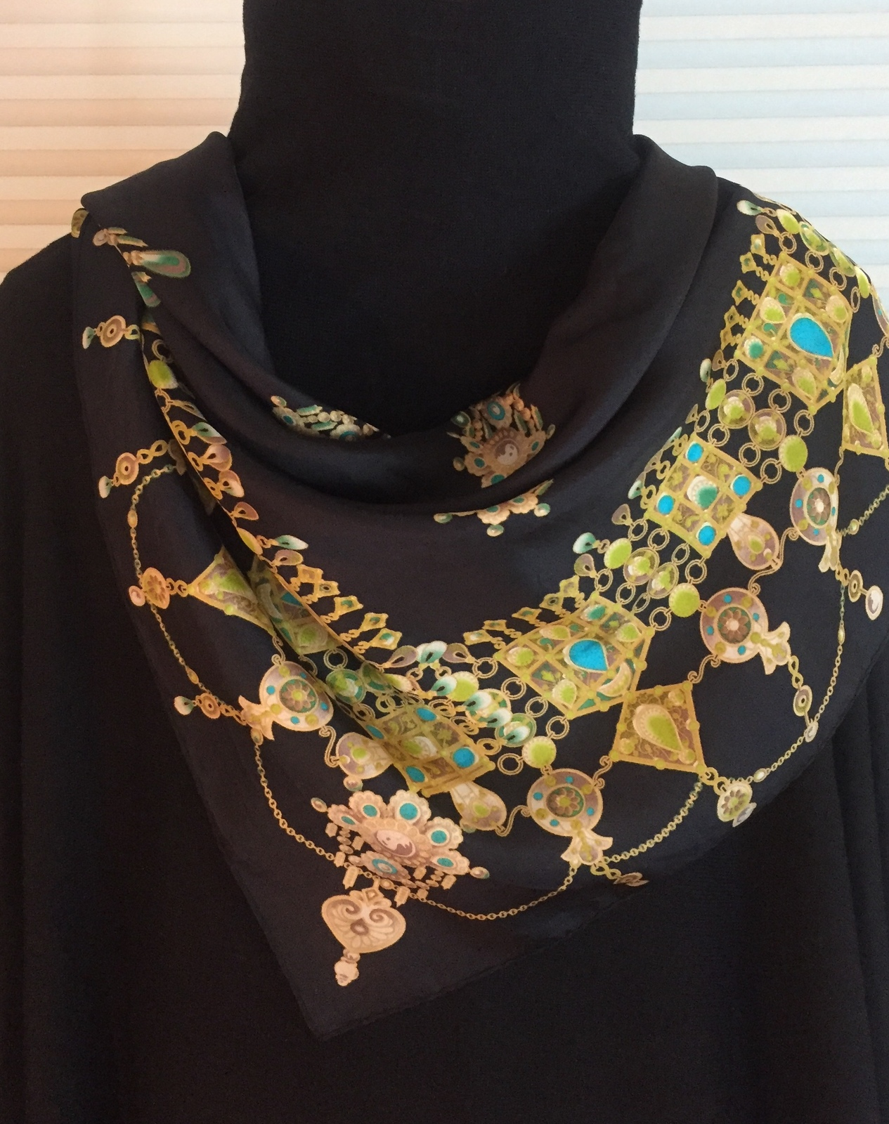 Vintage Oscar (by Oscar de la Renta) large square scarf (Chains & Gems)