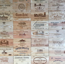 PACK OF 6 WOODEN WINE BOX END PANELS / PLAQUES / PRINTS /ENGRAVED END PI... - $49.53