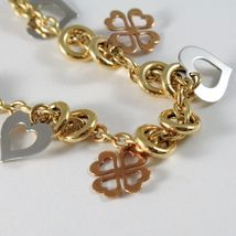 18k YELLOW WHITE ROSE GOLD BRACELET, ROLO, CIRCLE, HEART AND FOUR LEAF PENDANT image 3
