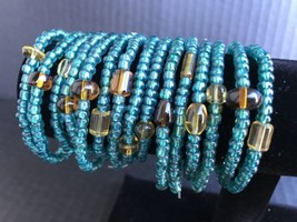 Turquoise Glass Bead Stretch Bracelets SIZE SMALL Lot Of 15 Handmade NEW - $15.99