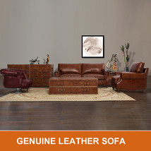 MarquessLife Handmade Antique Couch Set Sofa 100% Genuine Leather & Coff... - $2,250.00