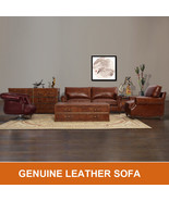 MarquessLife Handmade Antique Couch Set Sofa 100% Genuine Leather & Coff... - $2,025.00