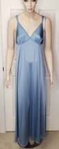 Vintage Vanity Fair Cornflower Blue Rare Color Long Nightgown w/ a Wide ... - $29.70
