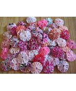 55 mix pink shade fabric Quilt Applique Rosette Suffolk Puff Handmade yo... - $12.00