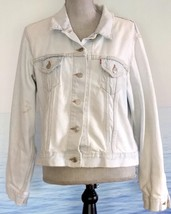 Vtg 80s Denim Jacket LEVIS Faded Grunge Denim L Trucker Destroyed Authentic - $59.20