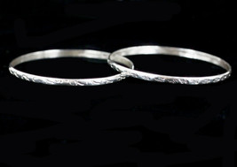 Vintage Taxco Mexico Sterling Silver Pattern Bangle Bracelet Pair Set image 2