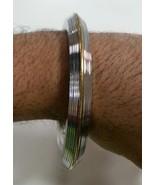 Stunning Stainless Steel CHUNKY Lines Brass Edge Sikh Singh Khalsa Kara ... - $18.90