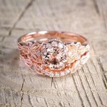 Anite and diamond halo bridal wedding ring set in rose goldvbfd bestselling design   1  thumb200