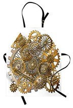 Ambesonne Clock Apron, Gears in Style of Steampunk Mechanical Design Eng... - $28.85