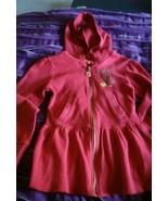 Apple Bottoms Hooded Zip Front Red Dress Girls Size Medium Long Johns Lo... - $10.40